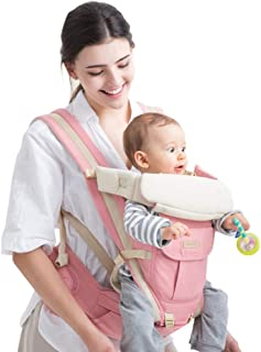 LXJJGF Baby Carrier, Four Seasons Universal 3-in-1 Ergonomic Pink Baby Carrier Cotton Detachable Back Plate