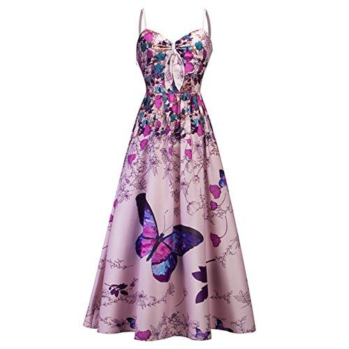 MisShow 50s Damen Sommerkleid Freizeitkleider Retro Kleider mit Blumen-Schmetterling-Muster Lila Maxilang Gr.S