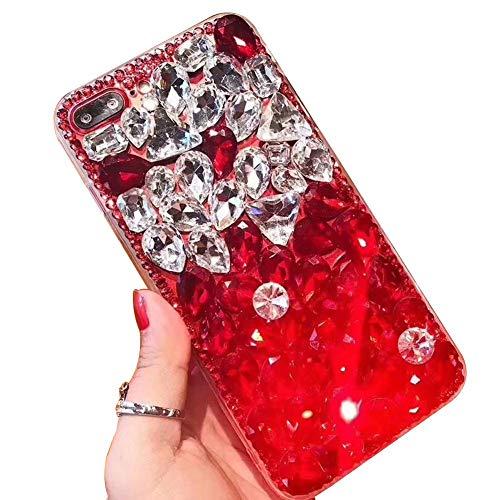 Nadoli Luxuriös Funkelnd Glitzer Voll Diamant Strass Bling Durchsichtig Hart PC Zurück + Weich Silikon Rahmen Hülle Schutzhülle für Samsung Galaxy Note 20,Rot Silber