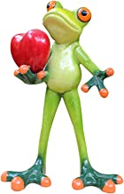 L.DONG 3D Creative Frog Decor with Red Heart, Funny Cute Green Frog Figurine Valentine Decorative Resin Statue Ornament Animal Decoration for Office Home Desk Bathroom