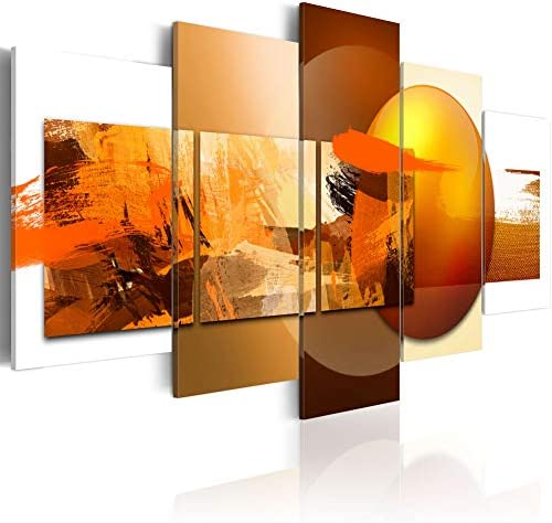 Canvas Prints Art Modern 5 pieces Wall Picture Abstract Sphere Pros and Cons Painting Orange product image