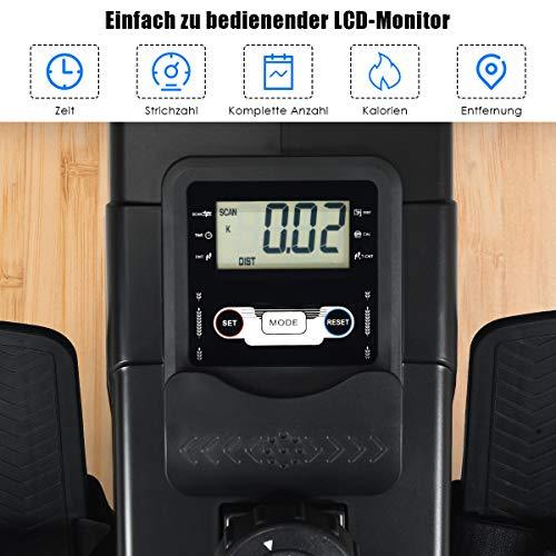 GOPLUS Rudergerät mit Magnetbremssystem, Rudermaschine Klappbar, Ruderzugmaschine mit 10 Widerstandsstufen, Heimtrainer, Nutzergewicht bis 120 kg, Leise, Fitnessgerät für das Ausdauertraining zu Hause - 3