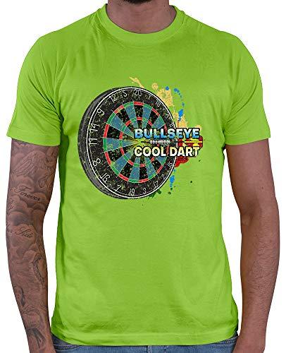 HARIZ Herren T-Shirt Bullseye Cool Dartscheibe Dart Darten Dartscheibe Sport Fun Trikot Inkl. Geschenk Karte Hell Grün L