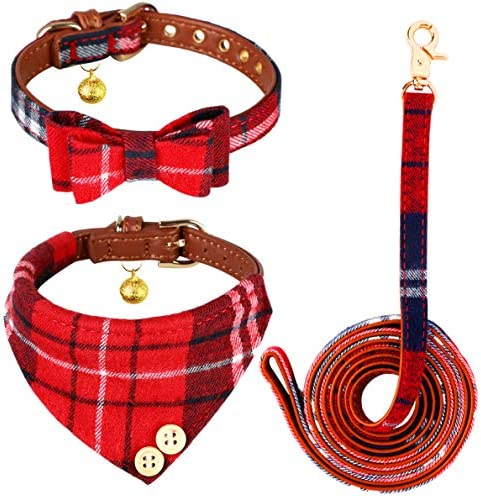 Bow Tie Dog Collar and Leash Set 3 PCS Cute Red Classic Plaid Adjustable Pet Puppy Collars Bandana product image