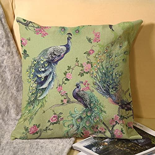 Fundas de almohada de lino verde con plumas de pavo real de 45,7 x 45,7 cm (45,7 x 45,7 cm)