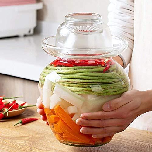 ZQALOVE ZHANGQINGAN Latas 2,5/5 kg Jar Corea del envase de Cristal Kimchi Latas Cocina Espesado en escabeche hogar en vinagre Tarro Pickles Cilindro Selladas (Size : 1PC 5kg)