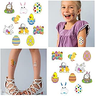 20 Easter Temporary Tattoos for Kids   For Easter Egg Toys   Easter Decorations   Easter Basket Stuffers and Easter Egg Hunts   Individually Wrapped   Large Metallic Tattoos For Boys and Girls