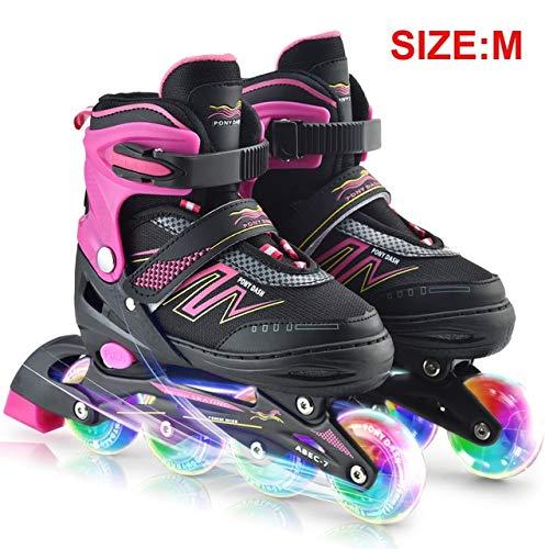 STBB Rollschuhe Skates Rollerblades Inline Einstellbare Beleuchtung Räder Outdoor Sport Rollschuhe Schuhe Kinder Tracer Für Kinder Jungen Mädchen M Rosa