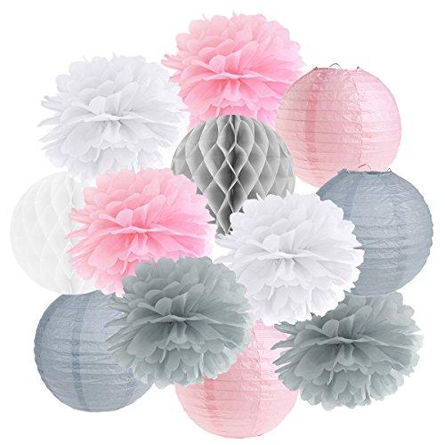 Hängedekoration 12 teilig Mix - Lampions, Wabenbälle/Honeycombs, Pompoms (rosa/grau/weiß)