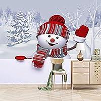 YYUGIO 自己粘着性の大きな壁紙- 白い雪だるまのクリスマス 140 x 70cm リビングルームの寝室のソファの背景オリジナリティステッカーギフトの壁画