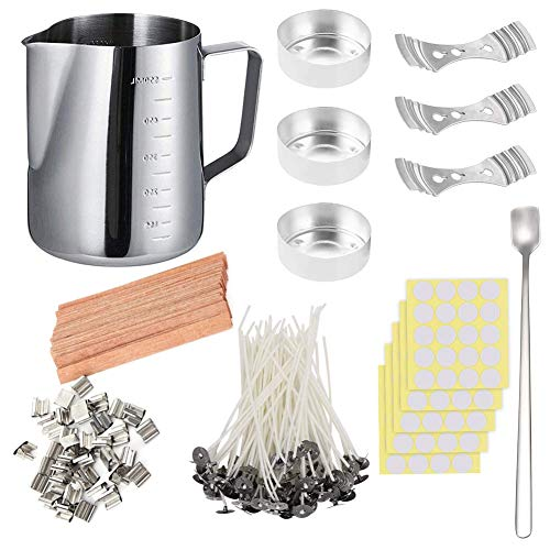 DIY Candle Making Set, 600ml Pouring Pot with Scale+100pcs Candle Wicks+20pcs Wood Natural Candle Wicks with Metal Stands+100pcs Sticker+3pcs 3-Hole Holder+Stirring Spoon+3pcs Aluminum Mold, Low Smoke