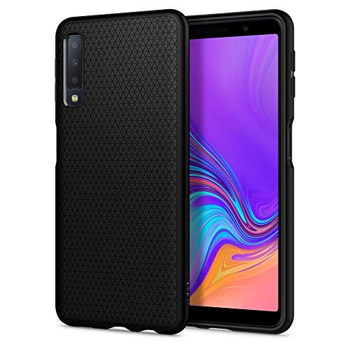 Spigen 608CS25555 Liquid Air Hülle kompatibel mit Samsung Galaxy A7 2018 Hülle Stylisch Muster Design Silikon Schutzhülle Case - Schwarz