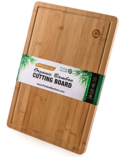 PRISTINE BAMBOO 18x12 inches Large Cutting Board for Kitchen with Handles, Juice Grooves. Wooden Chopping Boards for Vegetables, Fruits. Meat Carving Board. Cheese Serving Tray. Free Non-Slip Grips