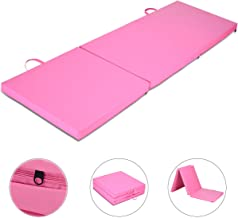 Giantex 6x2 Ft Tri-Fold Gymnastics Mat with Carry Handles Tumbling Exercise Gym Mat for Aerobics, Yoga, Stretching, MMA