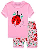 Girls Pajama Set, Breathable Pure Cotton, Cute Cartoons, Elastic Waist, Two Pieces Set, Pink# Ladybug, Size 6 Years=Tag 120