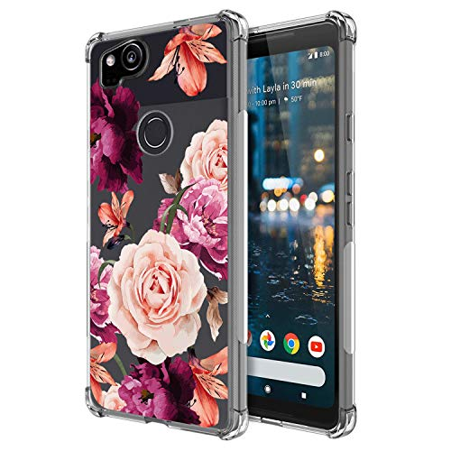 KIOMY Flowers Shockproof Phone Case for Google Pixel 2, Clear with Floral Design Slim Flexible Cute Girly Cell Phone Cover with Bumper Corner for Girls Women