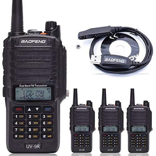 4pcs BaoFeng UV-9R Walkie Talkie Dustproof Waterproof IP67 Transceiver Two Way Radio+ Programming Cable
