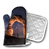Oven Mitts And Pot Holders Set,Light Painting Starry Night Arches National Park Mitones De Horno Y Agarraderas, Elegantes Y Coloridos Jarrones Y Guantes De Horno Para El Hogar