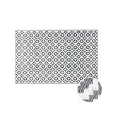 Butlers Colour Clash Outdoor Teppich Mosaik 150x90 cm in Schwarz-Weiß - Flachgewebe Teppich für...