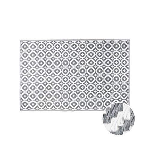 BUTLERS Colour Clash Outdoor Teppich Mosaik 150x90 cm in Schwarz-Weiß - Flachgewebe Teppich für Innen- und Außenbereich