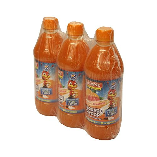 Slimpie Limonade Siroop Sinaasappel Framboos 3 x 580ml Flasche (Getränke-Sirup Orange Himbeere, Zuckerfrei)