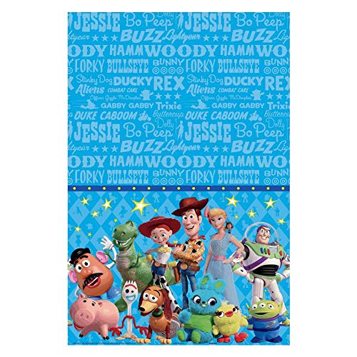 amscan Toy Story 4' Blue Plastic Party Table Cover, 54' x 96', 572367