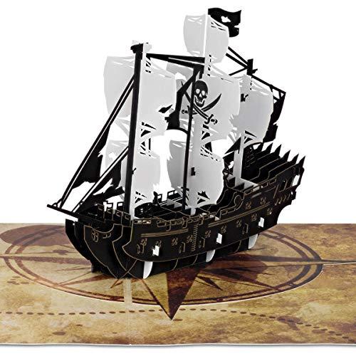 PaperCrush® Pop-Up Karte Piratenschiff - Besondere 3D Geburtstagskarte für Kinder (z.B. Jungen), Mitgebsel für Piraten Kindergeburtstag oder Piratenparty, Kindergeburtstagskarte inkl. Umschlag