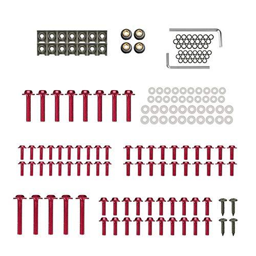 KKmoon Motorrad Schrauben Set Verkleidungsschrauben Schrauben Karosserie Kit für Honda CBR600RR CBR900RR CBR1000RR CBR1100XX 177 Stücke Rot