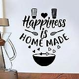 Estilo americano Felicidad Hecho en casa Horneado con amor Panadería Postre Batidor Logotipo Letrero Etiqueta de la pared Calcomanía de vinilo Sala de estar Hornear Cocina Decoración para el hoga