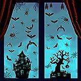 Etiqueta engomada de la ventana de Halloween, murciélagos araña casa encantada truco o golosinas calcomanías para ventana de Halloween, decoración de fiesta de Halloween para pared de vidrio