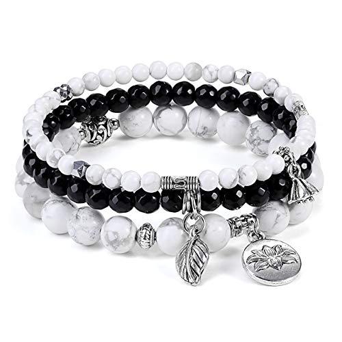 JSDDE Jewellery Wrap Bracelet Multilayer Bracelets Set Friendship Bracelet Partner Bracelets Made of Gemstones Healing Stones with Lotus Leaves Pendant for Women White Howlite