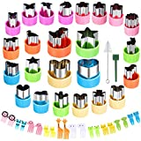 Vegetable Cutter Shapes Set Mini Sizes Cookie Cutters Set Fruit Cookie Pastry Stamps Mold Food Decorative Kids Baking and Food Supplement Tools (24pcs cutters+20pcs Picks)