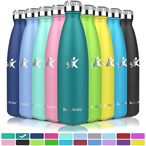 KollyKolla Vakuum Isolierte Edelstahl Trinkflasche, 750ml BPA Frei Wasserflasche Auslaufsicher, Thermosflasche für Kinder, Schule, Mädchen, Sport, Outdoor, Fahrrad, Büro, Fitness (Voll Tiefgrün)
