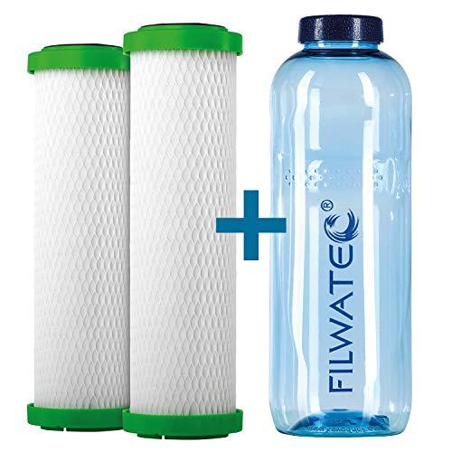 filwatec Carbonit NFP Premium-9 2 Stück I Filterpatrone Wasserfilter Carbonit SanUno + Vario-HP I TÜV geprüft Aktivkohlefilter I Auftischfilter & Untertischfilter I Trinkflasche