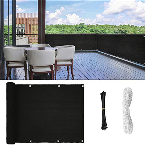 GOOVI Fence Privacy Screen, 3ft x16ft Mesh Fence Windscreen for Porch Deck, Outdoor, Backyard, Patio, Balcony to Cover Sun Shade, UV-Proof, Weather-Resistant (Black)