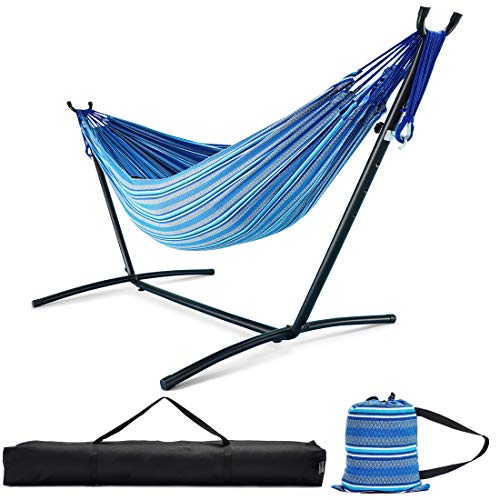 Zupapa Hammock with Stand 2 Person Heavy Duty, Portable Hammock with Stand for Camping and Outdoor, Adjustable Steel Hammock Stand and Double Hammock with Carrying Bag, 550 LBS Capacity.(Blue Stripe)