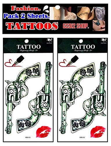 GS912 Tattoos. Guns Red Lipstick Sugar Kisses Cartoon Stickers Tattoos Temporary Waterproof Tattoo Fake Designs Sexy Body for Man Women (Pack 2 Sheets.) (03)