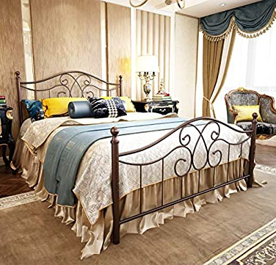 Metal Bed Frame Queen Size with Vintage Headboard and Footboard Platform Base Wrought Iron Bed Frame