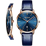 OLEVS Women Wrist Watches Ultra Thin 6.5mm Minimalist Dress Fashion Blue Leather Strap Blue Face Quartz Waterproof Date Day Slim Watches for Ladies