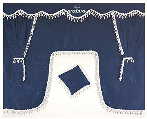 Other Juego de 5 cortinas azules con borlas blancas, tamaño universal, todos los modelos de camiones, accesorios de cabina, decoración de tela de felpa