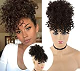 CINHOO Afro High Puff Hair Bun Black Wig with Bangs Synthetic Short Kinkys Curly Pineapple Pony Tail Clip in on Wrap Updo Hair Extensions for African American Women Natural Black Hair(2##)