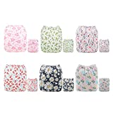 ALVABABY Baby Cloth Diapers One Size Adjustable Washable Reusable for Baby Girls and Boys 6 Pack with 12 Inserts 6DM15