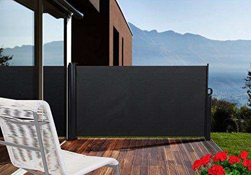 Seitenmarkise - Sichtschutz für die Terrasse - Windschutz Blickschutz (140 cm x 300 cm, Anthrazit (RAL 7022))