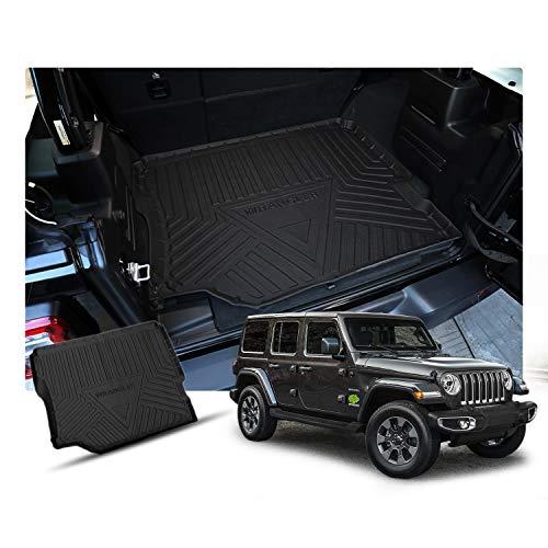 RUIYA kofferbakmat, schaalmat, geschikt voor 2018 2019, Jeep Wrangler JL (4 deuren), cargo Liner achteraan, zwart, waterdicht, antislip, eenvoudig te reinigen