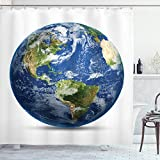 Ambesonne World Map Shower Curtain, Planet Earth Picture from Space Satellite Continents Clouds Picture, Cloth Fabric Bathroom Decor Set with Hooks, 70' Long, Navy Blue