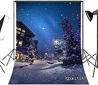新しい冬のシーンクリスマスイブの背景新生児の子供のための5x7FT屋外の村の背景ポートレート写真スタジオの背景小道具洗える