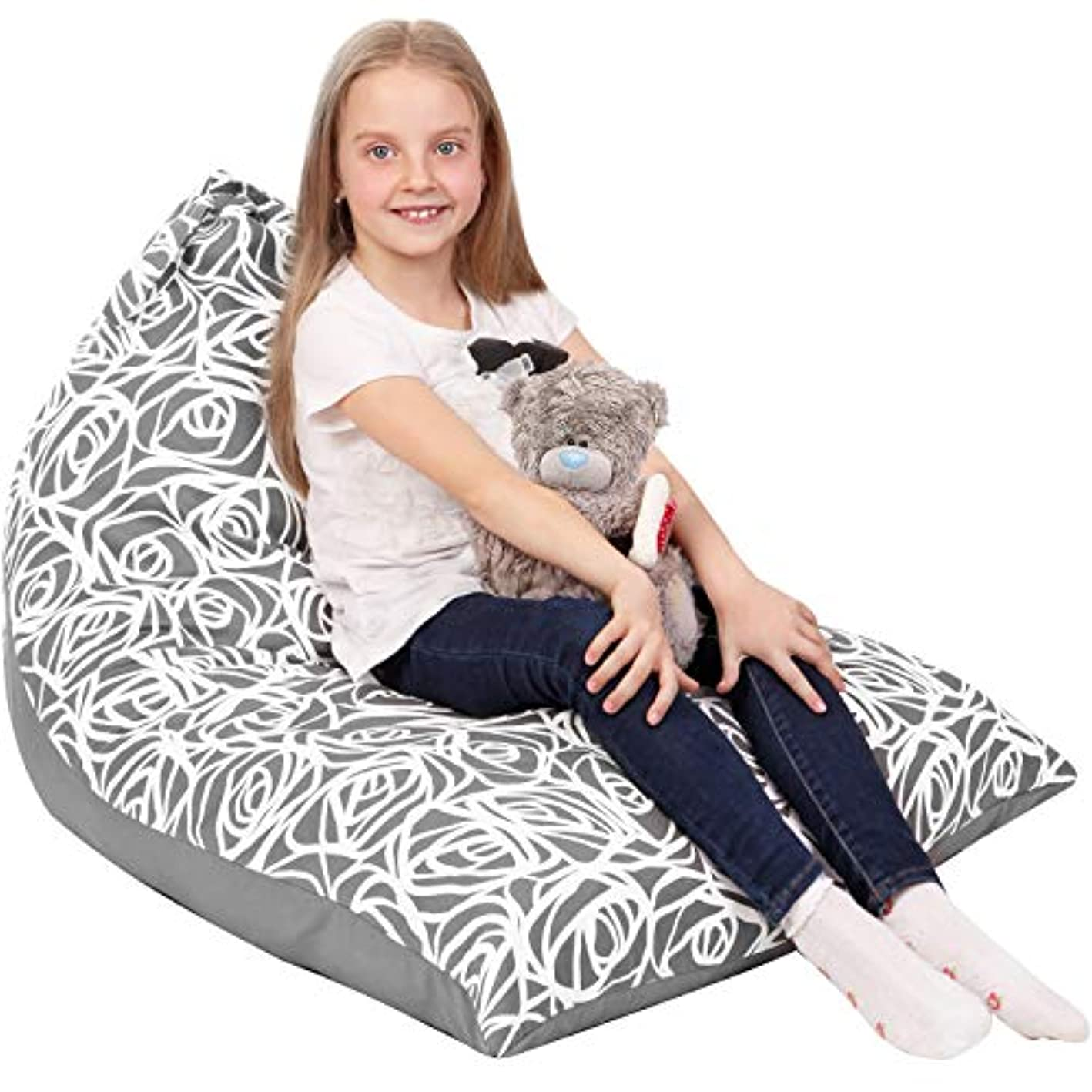 5 STARS UNITED Stuffed Animal Storage Bean Bag - Cover Only - Large Beanbag Triangle Chairs for Kids - 180+ Plush Toys Holder and Organizer for Girls - 100% Cotton Canvas - Gray Roses