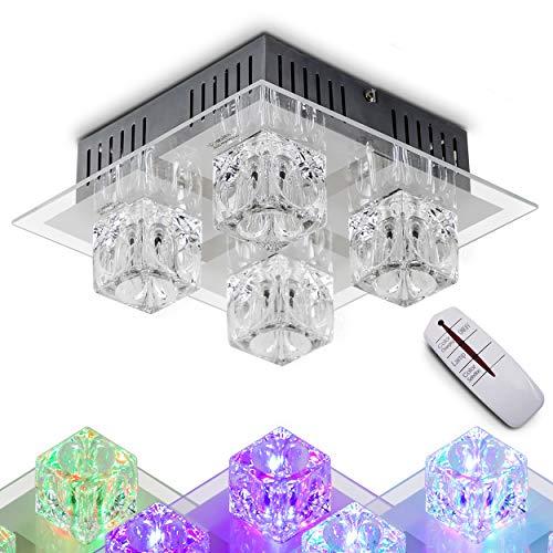 LED Deckenleuchte Lima, Deckenlampe aus Metall/Glas in Grau, eckige Leuchte mit Glaswürfeln, 4-flammig, mit RGB Farbwechsler u. Fernbedienung