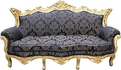 Casa Padrino Barock 3er Sofa Master Schwarz Muster/Gold 2Mod - Wohnzimmer Couch Möbel Lounge