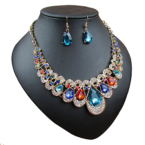 Crystal Glass Water Droplets Large Stones Necklace and Stud Earrings Set for Women (Muticolor)